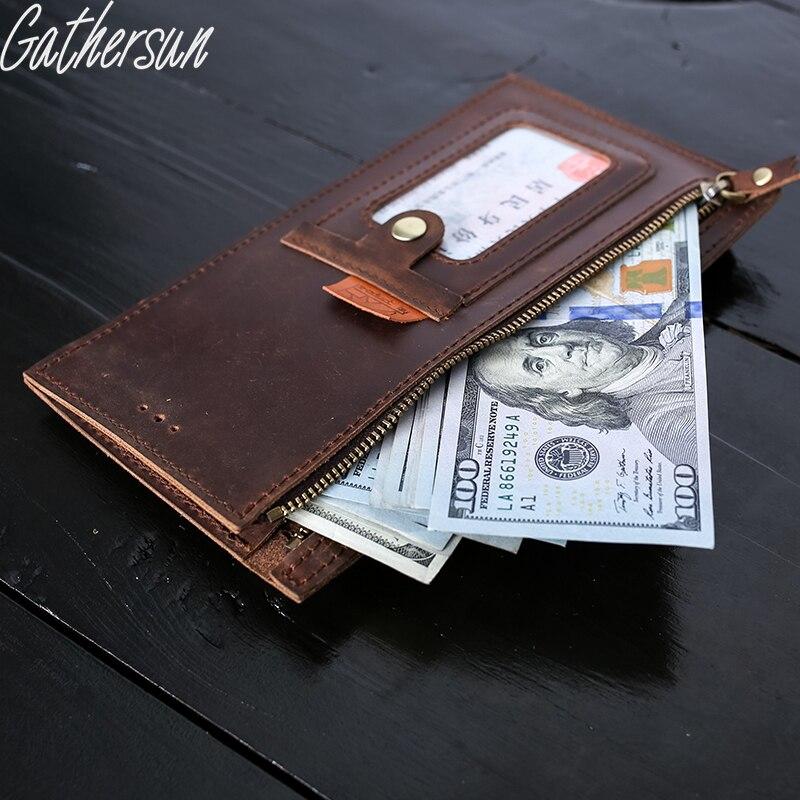 ФОТО  Gathersun Brand New Original Handmade Genuine Leather Man purse Crazy Horse Cowhide Long Wallet Zipper Retro Leather Wallet