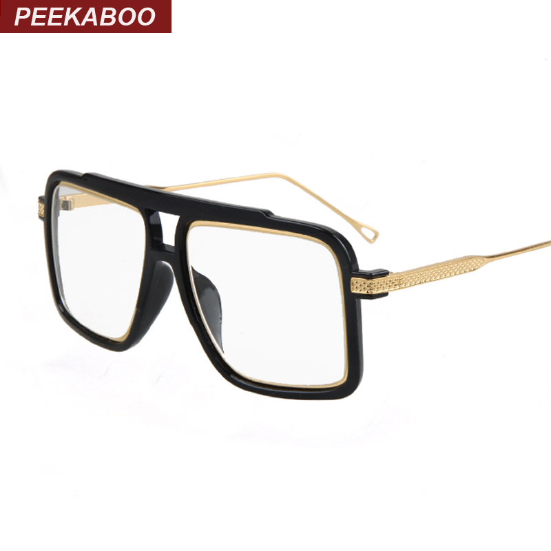peekaboo big square luxury eye glasses frames for men 2016 black metal flat top clear gold