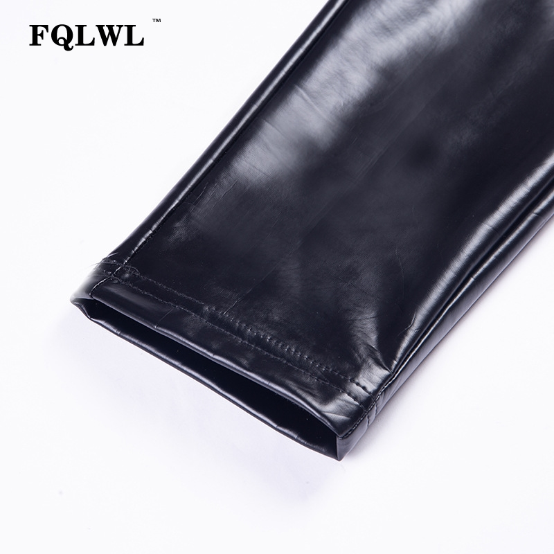 FQLWL Punk Bodycon Faux Pu Leather Pants Women Push Up Black High Waist Pants Female Autumn Winter Trousers Women Sexy Pants 22