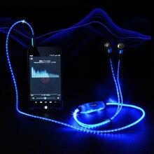 Exrizu Спорт светодиод мигает импульса Glow наушник светящиеся кабель гарнитуры с микрофоном светящиеся наушники для iphone андроид