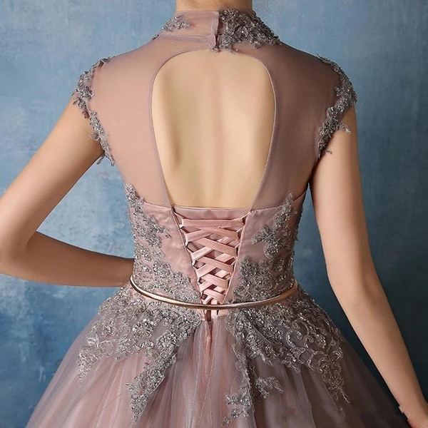 High Neck 2019 Quinceanera Dresses Lace Appliques with Crystal Beaded Ball Gown Sweet 16 Prom Gowns Vestidos De 15 anos Birthday