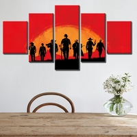 West Cowboy Cartoon Pictures Print On Canvas Waterproof Oil Wall Art For Living Room Decor 5pcs