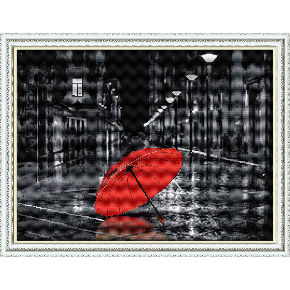 The streets after the rain Ecological cotton Chinese Cross Stitch kits 14CT 11CT stamped Printed DIY wedding decoration for home