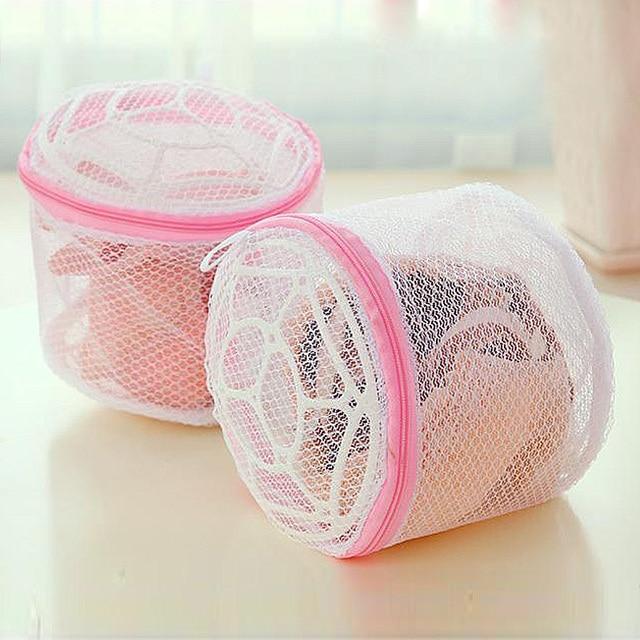 1 PC Hot Branco Malha de Nylon Com Zíper de Abertura Mulheres de Lavar Roupa Interior Saco de Roupa Sacos de Sacos de Armazenamento de Casa