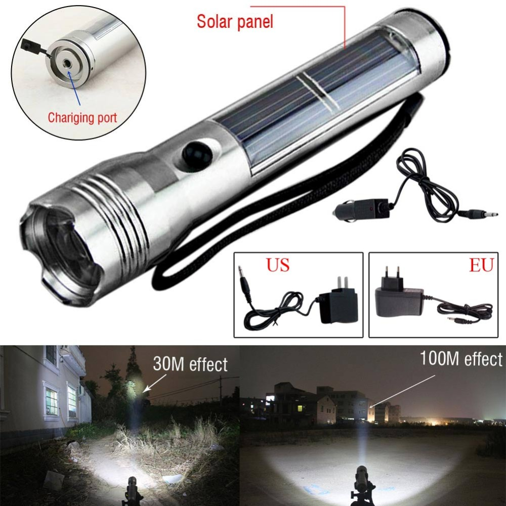 Portable Solar Powered Rechargeable LED Flashlight Torch Outdoor Camping Hiking Emegency Flash Light Lamp LanternPortable Solar Powered Rechargeable LED Flashlight Torch Outdoor Camping Hiking Emegency Flash Light Lamp Lantern