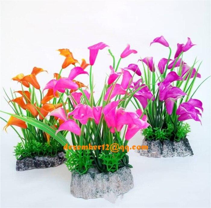 Las plantas acuáticas plásticas artificiales  Ornamental Pecera