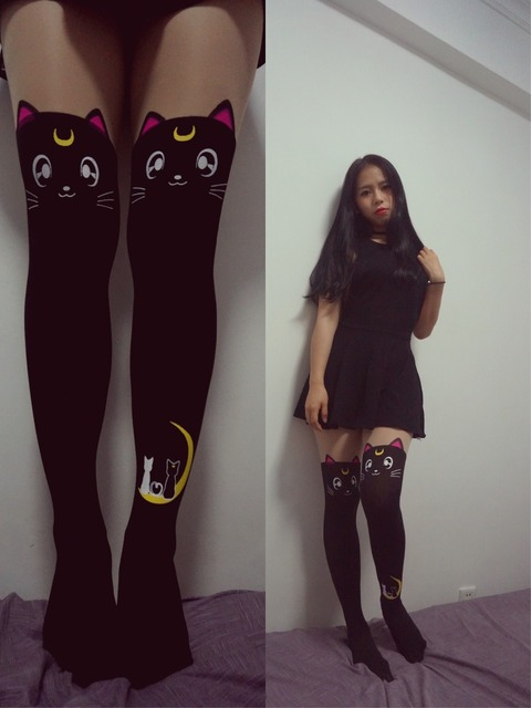 83ebd2c8ac2 Janpan Anime Sailor Moon Luna Cat Cosplay Black silk stocking Cute Costume  for Girl sock