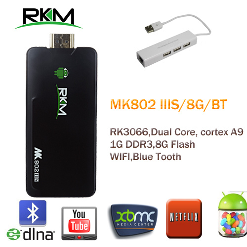 RKM MK802IIIS Mini PC, RK3066 Cortex A9 1GB RAM 8G ROM Bluetooth HDMI TF Card & USB HUB+USB LAN  [MK802S8B+RK308]