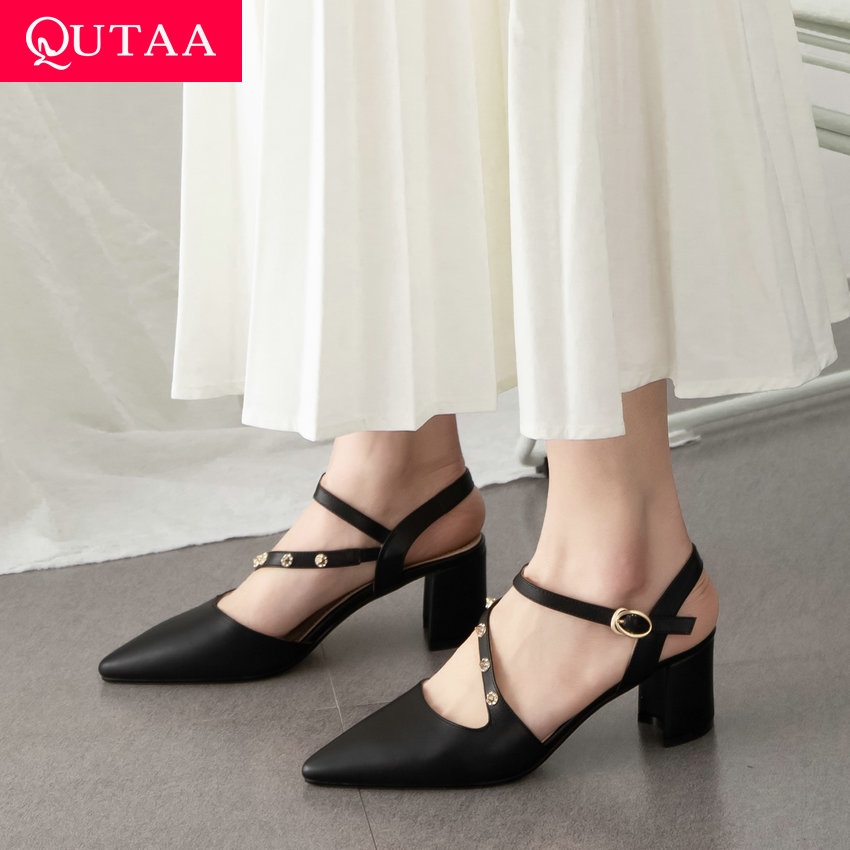QUTAA 2019 Women Sandals Cow Leather Square Middle Heel Slingback Pointed Toe Rivet Hollow Fashion Women Pumps Summer Size 34-41QUTAA 2019 Women Sandals Cow Leather Square Middle Heel Slingback Pointed Toe Rivet Hollow Fashion Women Pumps Summer Size 34-41