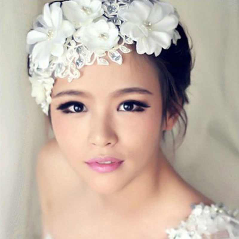 2016 New Korea Style Handmade Rhinestone Pearl White Lace Big Flowers Hairband Bridal Headband Hair Jewelry Wedding Accessories