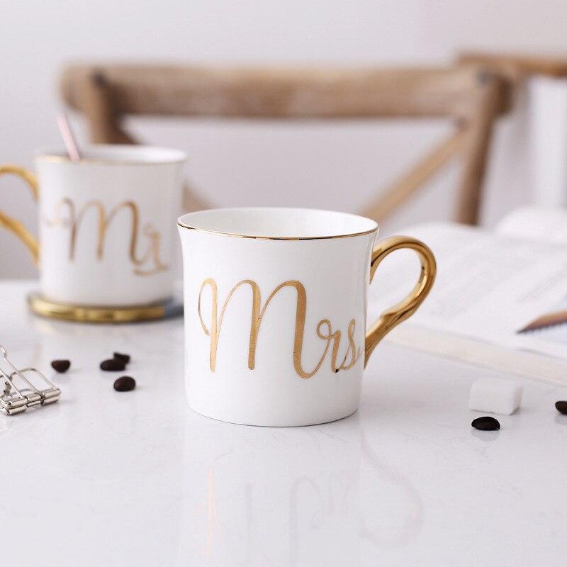 Lekoch Bone china Tazza di Ceramica Tazza di Grigio Rosa Colori Mr e Mrs Tazza di Viaggio Modello bianco maniglia Oro Tè Al Latte tazze e Tazze Regali