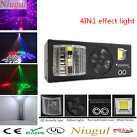 Multifunction LED 4in1 Effect Light Sound DMX Control LED Butterfly Lights+RG Laser+4 Eyes Patterns Light +White Strobe LED Lamp