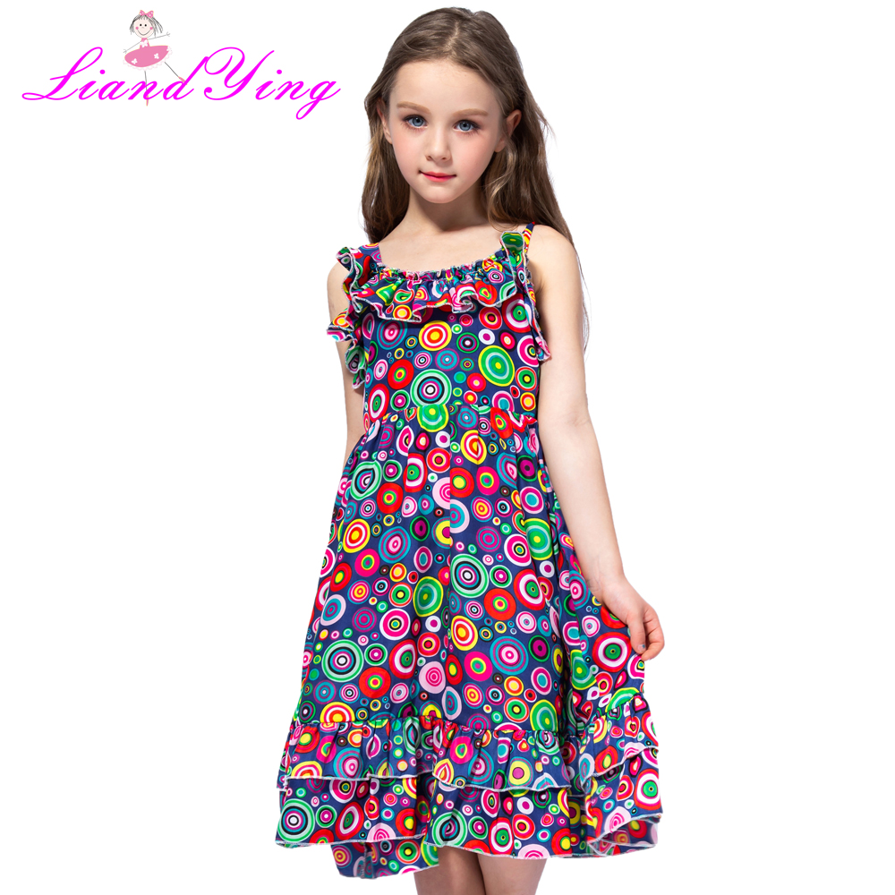 Fashion New 2018 Bohemian Print Girls Dress Summer Dresses Beach Strap Baby Dress Child Kids Dresses For Girls Clothes