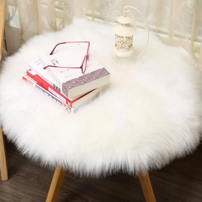 Soft Artificial Long Wool Faux Sheepskin Round Carpet Living Room Bedroom Rug Hanging Ch ...