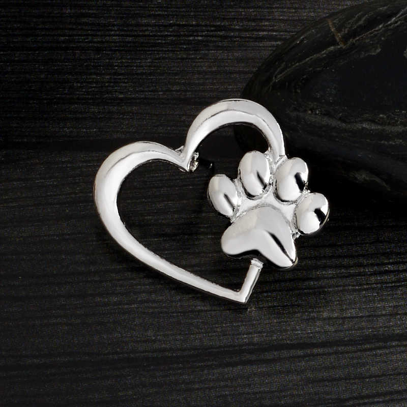 Emas Warna Perak Paw Jantung Metal Bros Anjing Cakar Kucing Cakar Pin Denim Pakaian Sweter Tombol Lencana Perhiasan Hadiah untuk pemilik Hewan Peliharaan