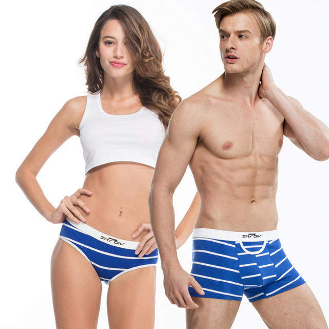 9b8cadc5c New Couple Underwear Women Panties Men Boxer Soft Stiped Blue Sexy Lover Gift  Male Female Couple Look Clothing