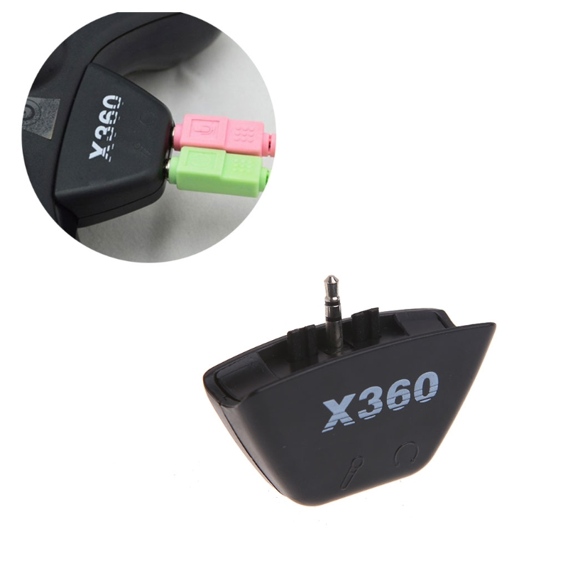 Black 2.5mm Jack Microphone Headset Earphone Converter Adapter For Xbox 360