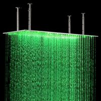 Free shipping Modern 20x40 (50x100CM ) LED Stainless Steel Rectangle Shower Head Brushed Nickel Finish