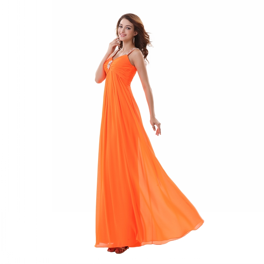 Sexy Crystals Spaghetti Strap Orange Prom Kleider 2017 Formalen A ...