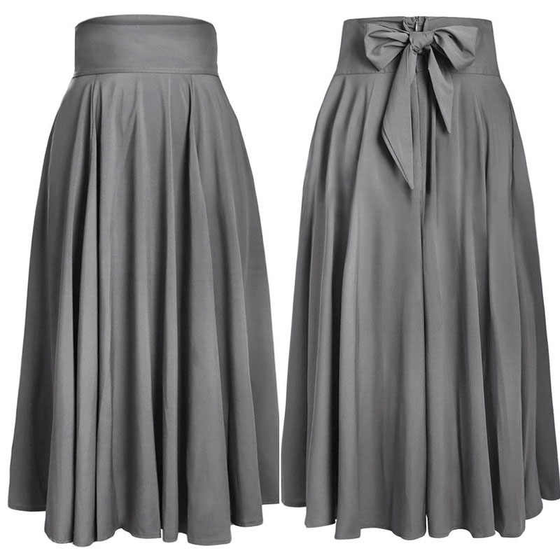 SEBOWEL 2019 סתיו חורף נשים כחול חצאית בציר רטרו בתוספת גודל גבוהה מותן קפלים חגור ארוך מקסי חצאית בחזרה קשת עניבת S-XXL