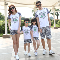 Summer Family Set Casual T Shirts Shorts Family Clothing Clothes Sets For Mother And Daughter Father