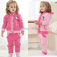 new 2016 winter autumn children baby& kids bebe toddler girls clothes sets hoodies suit with cartoon hello kitty outfits 2 pcs