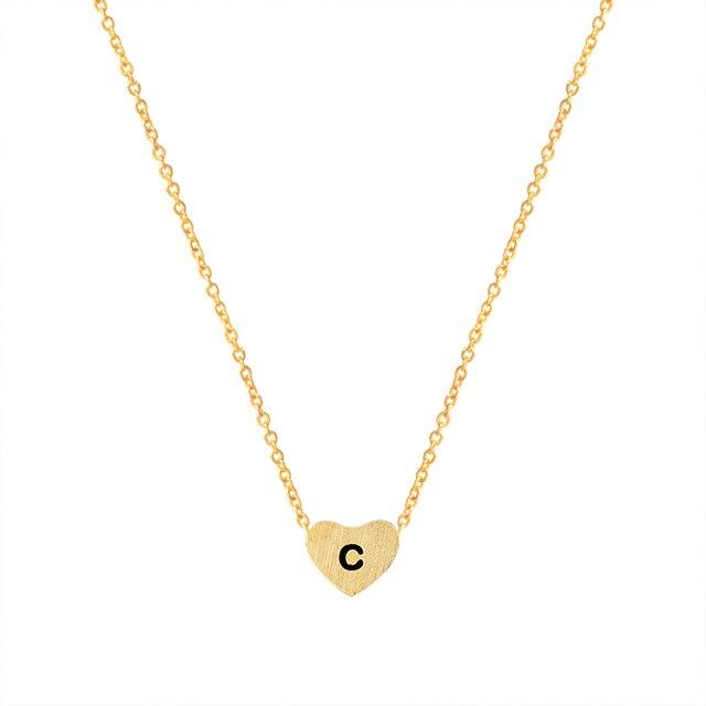Small letters c necklace gold color initial pendant chain stainless small letters c necklace gold color initial pendant chain stainless steel heart c necklaces women men aloadofball Choice Image