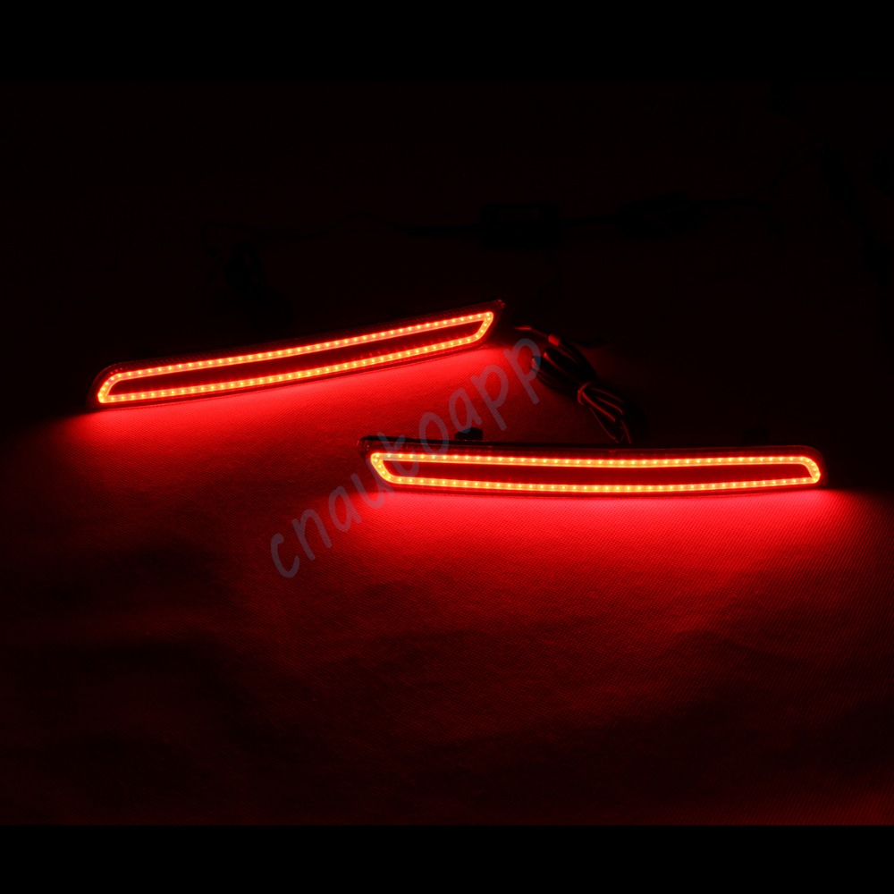 LED Rear Bumper Warning Lights Car Brake Lamp COB Running Light LED Turn Light For Chevrolet Malibu  (One Pair) dongzhen fit for nissan bluebird sylphy almera led red rear bumper reflectors light night running brake warning lights lamp