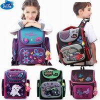 Delune high quality children 3D cartoon school bags boys girls students kids orthopedic satchel school backpack waterproof bags