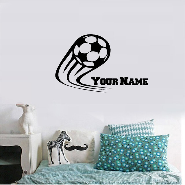 Vinyl Soccer Football Wall Decals Personalized Name Kids Boy For Children  Room Decor Stickers ,Size