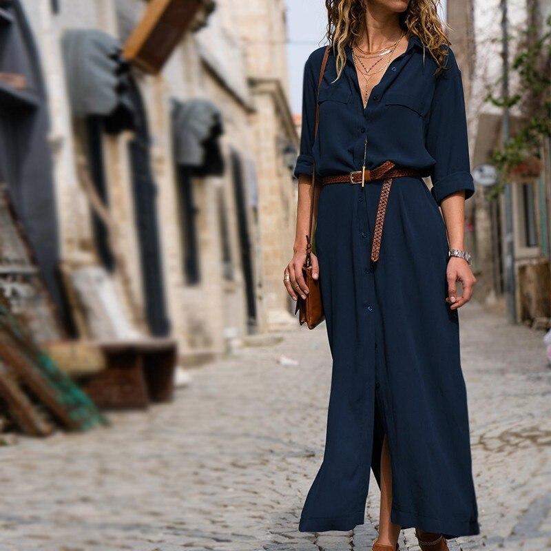 Новые модные женские туфли Повседневное длинное платье Осенне-зимняя Дамская обувь длинный рукав; пуговицы рубашка Макси платья дамы Vestido