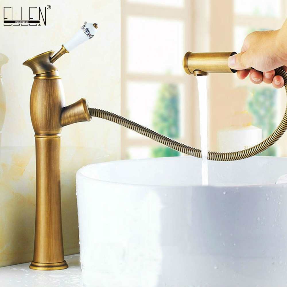 Pull Out Bathroom Sink Mixer Tall Antique Bronze Basin Sink Crane Hot and Cold Water Copper