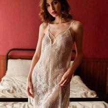 цена на yhotmeng sexy pajamas transparent lace thin straps halter print nightdress set sleepwear set women