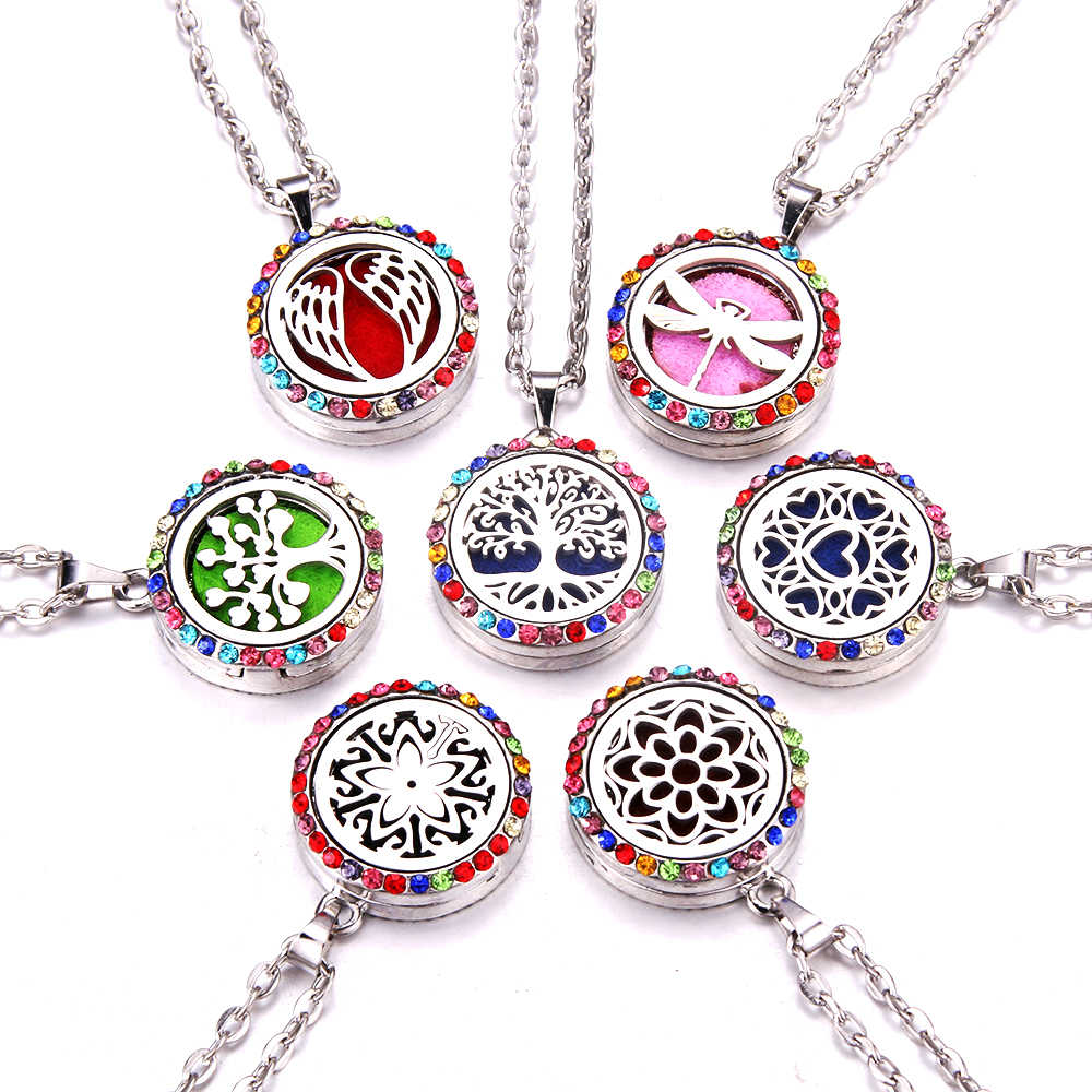 Colored Zircon Aroma locket Necklace Magnetic Stainless Steel Aromatherapy Essential Oil Diffuser Perfume Locket Pendant Jewelry