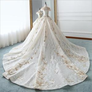 Image 3 - Luxe nouveau bateau cou manches courtes Appliques De luxe perles dentelle robe De mariée pour les robes De mariée De mariage Bridals Vestido De Noiva