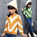 Adolescente niñas suéter de lana a rayas para niñas niños niños invierno cálido ropa fashion girls tops ropa outwear 10 12 año