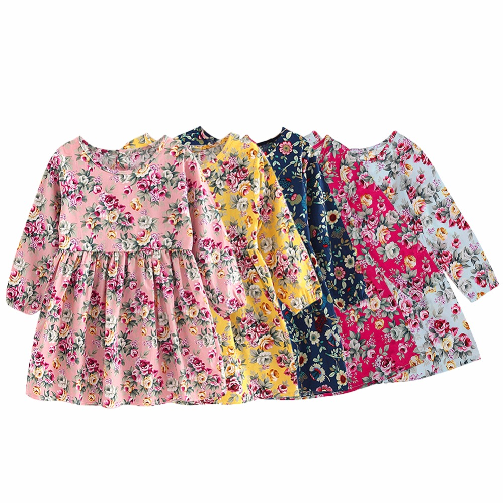 2-8Y Children Clothing Dress Cotton Floral Flower Print Party Princess Dress for Girls Baby Vestidos Clothes for Kids 2018 new fashion little girls summer floral dress print flowers loose casual party dress for gril cotton children kids clothes