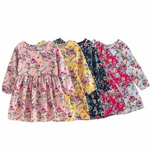 2-8Y Children Clothing Dress Cotton Floral Flower Print Party Princess Dress for Girls Baby Vestidos Clothes for Kids