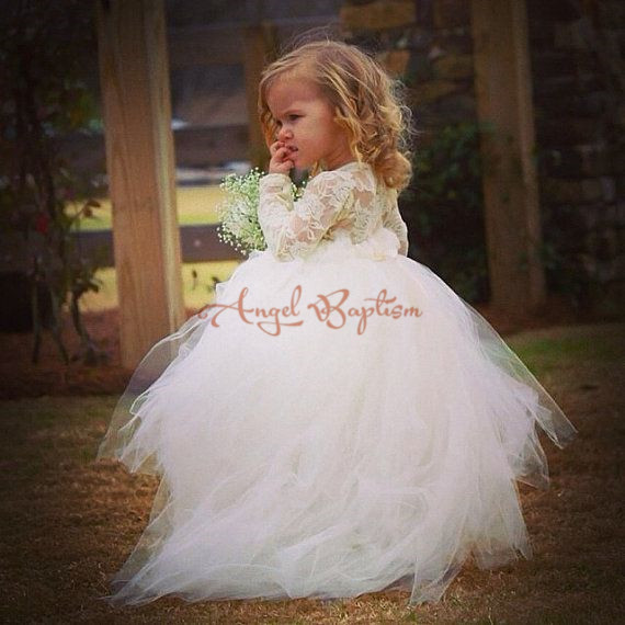 2017 Cute sheer lace crew collar ball gowns lovely full sleeves white/ivory tutu flower girl dresses for wedding birthday party new white ivory nice spaghetti straps sequined knee length a line flower girl dress beautiful square collar birthday party gowns