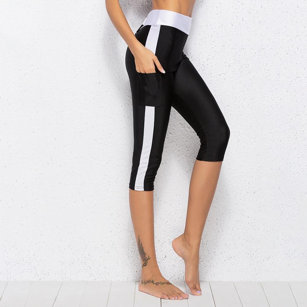 2018 Women Pants Compression Trousers Fitness Thin Short Leggings Summer Pants Side Pants Elastic Stretch Mid-Calf Leggings