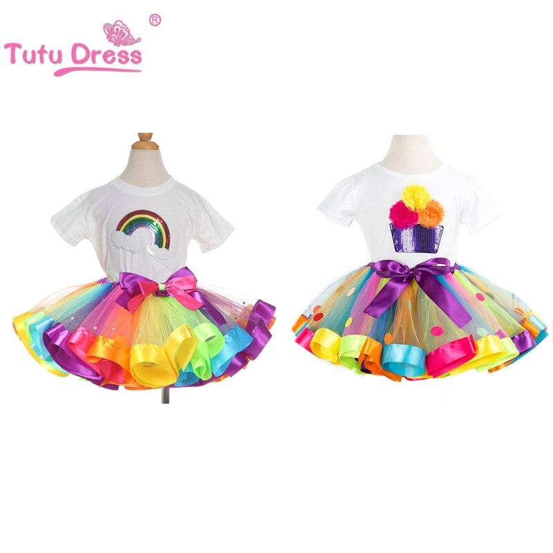 Летние комплекты одежды для девочек; хлопковая футболка с короткими рукавами и радужными блестками; юбки-пачки для дня рождения; детская одежда для девочек; комплект из 2 предметов