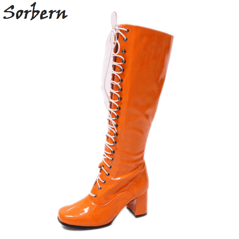 Sorbern Orange Shiny Knee High Boots For Women Square Toe 70'S Gogo Boots Shoes Women Vintage Style Boots Ladies Fall Shoes цена