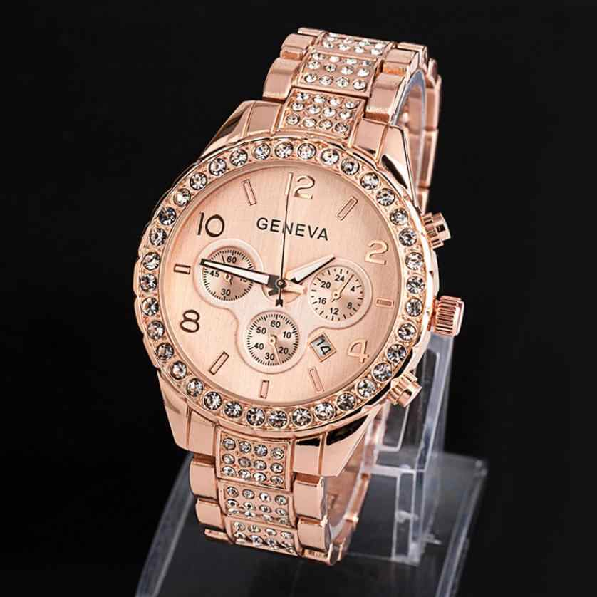 Geneva Women Fashion Luxury Crystal Quartz Watch 2018 ladies bracelet watch lady watch for woman  gold watches hours on hand new
