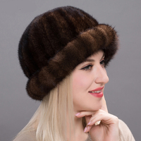 JKP mink fur Winter fur hats women's genuine suede fur hat with fur velvet cap winter leather fashion hat stripes first BZ17 17