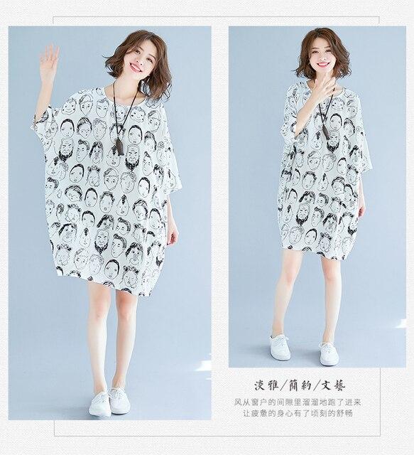 Cute Print Batwing Sleeve Cotton & Linen Plus Size Dress Summer Large size O-Neck Lagenlook New Loose Jumper Tunics Dress 1