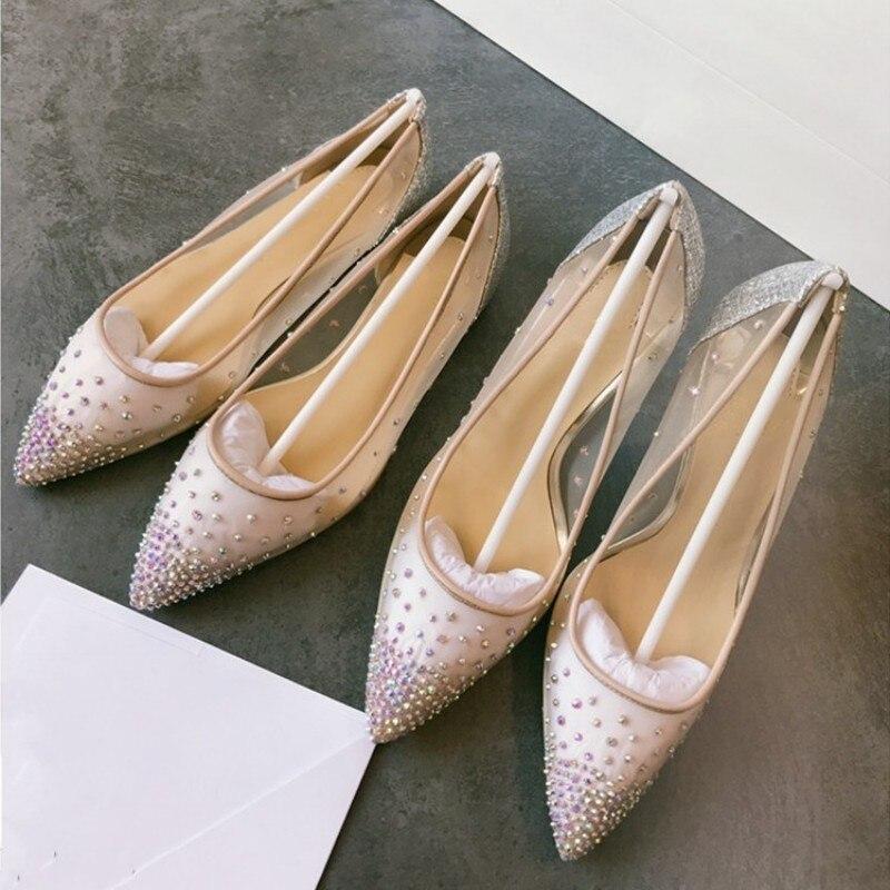 Bombas de malla de calidad superior de cuero genuino para mujer Zapatos de tacón alto de punta estrecha transparente zapatos de boda - 6