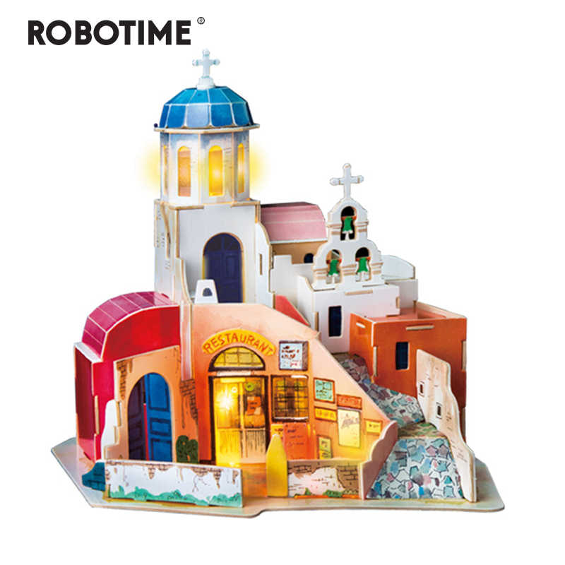 Robotime New DIY Aegean Sea Doll House with Led Light Children Adult Miniature Wooden Model Building Dollhouse Toy SJ403