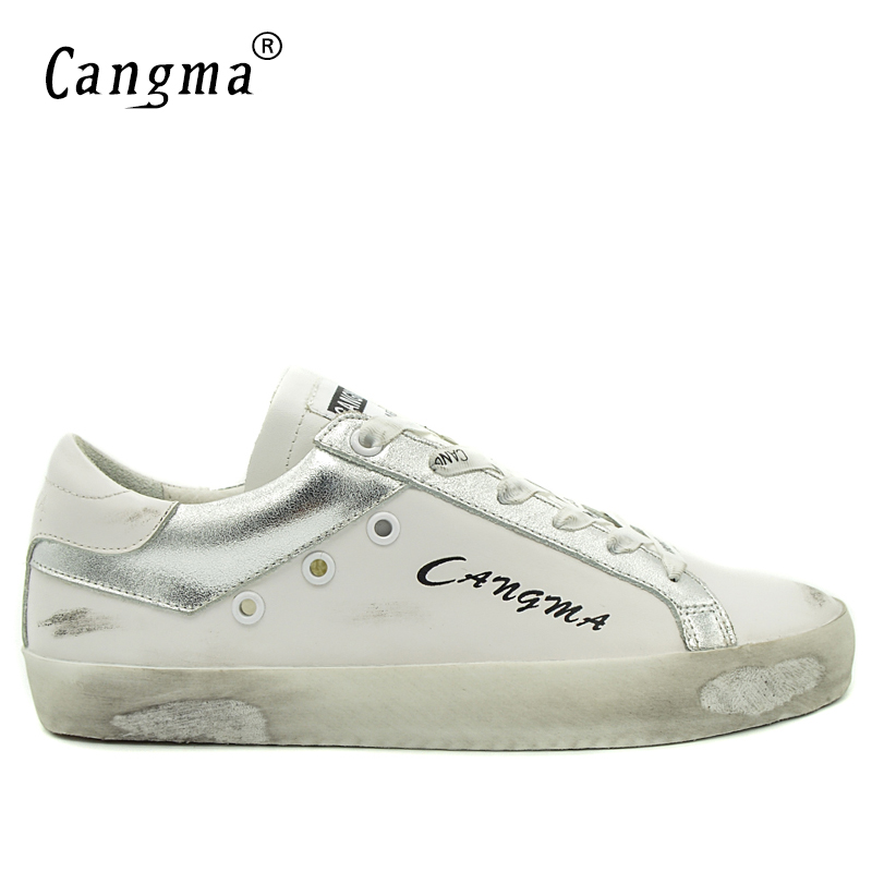 CANGMA Fashion Luxury Sneakers Men Retro White Shoes Leather Casual Man Shoes Genuine Male Shoes Adult Brand Breathable Footwear vesonal 2017 brand casual male shoes adult men crocodile grain genuine leather spring autumn fashion luxury quality footwear man page 7