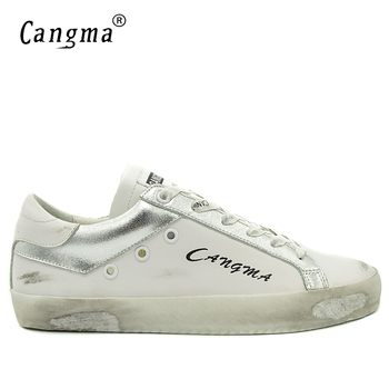 CANGMA Fashion Sneakers Men Retro White Shoes Leather Casual Man Shoes Genuine Male Shoes Adult Brand Breathable Footwear