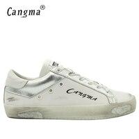 CANGMA Moda de Lujo Zapatillas de deporte de Los Hombres Retro Blanco Zapatos de Hombre Zapatos Casuales de Cuero Genuino Zapatos Masculinos Adultos Marca Transpirable Calzado
